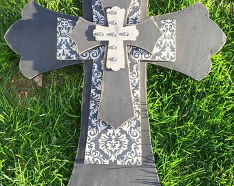 Large Stacked Shabby Chic Cross