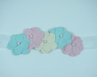 Blooming Pastel  Flower Handmade Baby Headband Baby Hairband
