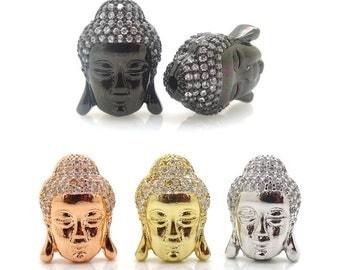 New Fashion Buddha Beads Jewelry 10mm*14mm Micro Pave Clear CZ Cubic Zirconia Buddha Head Beads DIY Buddhism Bracelets Jewelry Findings 2PCS
