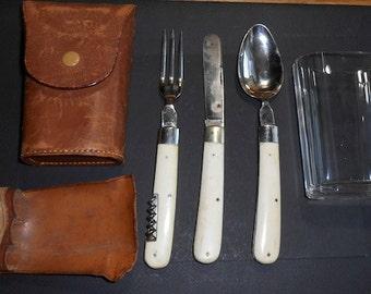 Vintage Franzi Travel Pocket Utensils and Glass kit