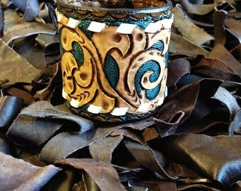 leather cuff, tooled leather, bracelet