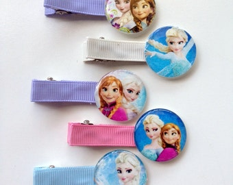 Frozen 5 Pack of  Boutique Girls Lined Hair Clips party favors