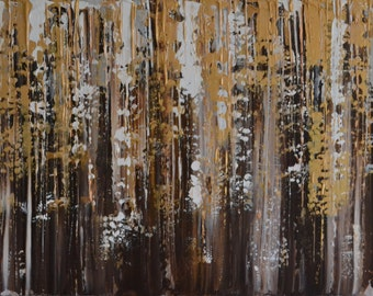 "Original XL Large Abstract Contemporary Palette Knife Chocolate, Painting  Box Canvas Ready to Hang by Jeanette James-Monk 40"" x 20"""