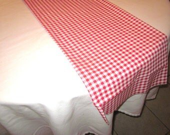 Red and White Gingham Table Runner, Western party,Wedding Table, Bridal Shower, Baby Shower, Cowboy Party, Cowgirl