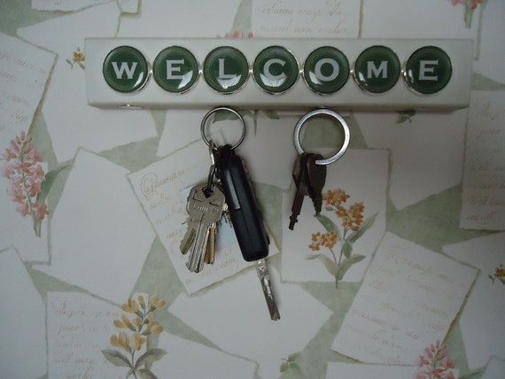 Welcome Key Holders Magnetic Key Chain Holder Wooden Wall