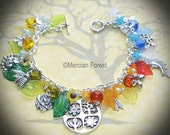 Four Seasons Pagan Bracelet - Handmade Pagan Jewellery Inspired by the Year Wheel, Wicca, Spring, Summer, Autumn, Winter, Flowers