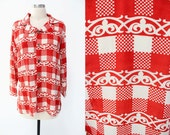 SALE Vintage 1980s Japanese Red & White Sheer Picnic Checks Long Sleeve Blouse // 80s japan asian abstract // free size S M L retro checked