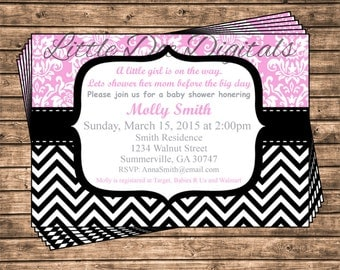 Personalized Pink Damask and Black Chevron Baby Shower Invitation - Printable Digital File