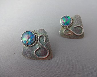 Green opal earrings in sterling with black patina
