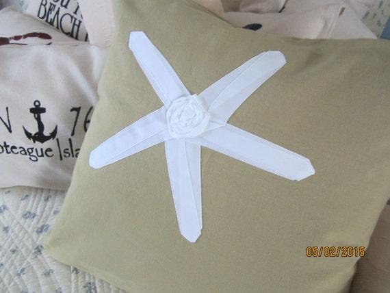 REDUCED!!!  Starfish themed 18x18 inch throw pillow on 100% khaki cotton duck cloth