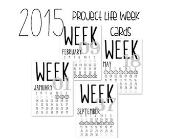 Printable 2015 Numbered Week Cards with Monthly Calendar, Sunday to Saturday. Perfect for Project Life!