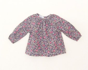 Navy and pink floral long sleeve girl's blouse