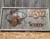"""Oklahoma State - PETE's MUG  12"""" x 24"""" approx. Item #762"""