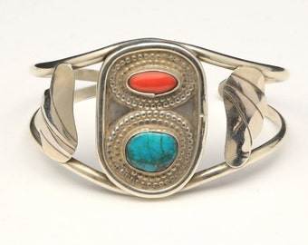 Vintage Sterling Silver Turquoise & Coral Cuff Bracelet Native American Southwestern
