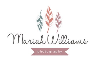 Premade Logo Design & Photography Watermark - Feather Logo Template - Feather Watermark Design - Premade Photography Logo - Premade Logo 209