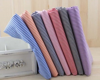 "7 Assorted Precut Cotton Fabric Quilt Fat Quarter Bundles 19.7""x19.7"" Stripes"