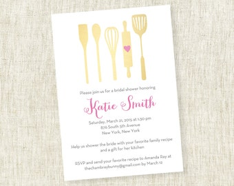 Gold or Silver - Bridal Shower Invite, Kitchen Shower, Stock the Kitchen, Couple's Shower, Bring Recipe - Customizable  - PRINTABLE / DIY