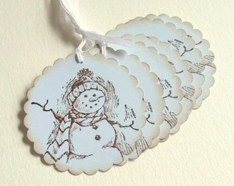 Snowman Tags, Winter, Christmas Gift Tags, Set of 6