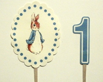 Peter Rabbit, Birthday Cake Toppers, Birthday Party, First Birthday, Blue or Pink, Set of 2