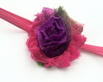 Newborn Headband - Hot Pink and Purple Flower Headband Photo Prop for Newborn - Infant Head Band - Hot Pink Skinny Elastic Headband