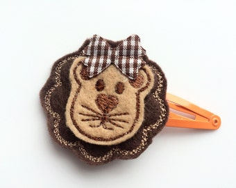 Lion Snap Clip Barrette for Girls - Brown Lion Hair Clip - Orange Snap Clip for Toddler - Zoo Animal Hair Clip Barrette -Cute Girls Barrette
