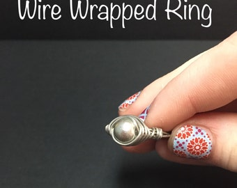 Silver Bead Wire Wrapped Ring