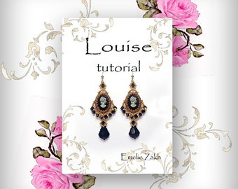Louise Beading tutorial.Beaded pattern earrings. ! PDF file containing instructions .