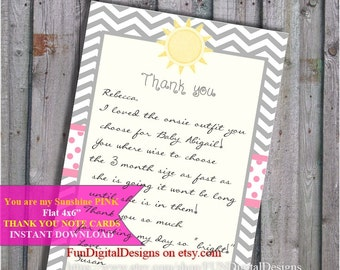 You are my Sunshine Pink Thank you notes Yellow and Grey Chevron Strip Baby Shower Game PRINTABLE DIY Digital