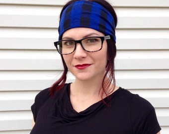 Blue Buffalo Plaid Fabric Headwrap, Plaid Headband, Blue Headband, Wide Headwrap, Holiday Headband