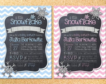 Little Snowflake Baby Shower Invitation - Customizable - Printable - DIY