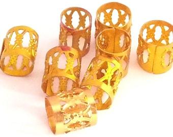 10 x Gold Dreadlock Hair Cuffs Bead Tube  -  for dreads, braids, plaits, twists