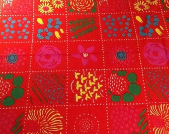 "Vintage 1976 Marimekko fabric designed by Fujiwo Ishimoto titled ""Talvikki"". Approximately 12+ yards by 53.50 inches. Reds, yellows, greens"