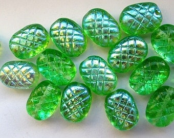 16 Vintage Glass Green and Opalescent Oval Textured Beads