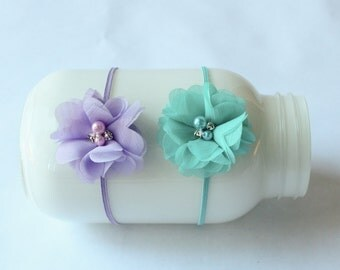 Baby Chiffon Flower Headband, 6 COLORS,  Newborn Photo Prop, Flower Headband, Baby Shower GIft, Ready to Ship.