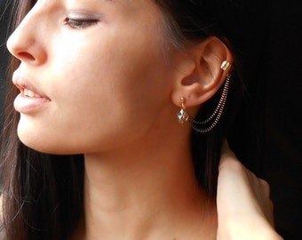 Crystal Ear Cuff Earrings, Swarovski crystal cuff earrings, Gold plated cuff with chain