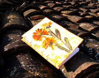 Sunny calendula, Gift for bachelorette party, engagement party, handmade paper journals, front with marigold, hand made Doby recycled paper