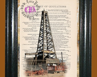 Oil Derrick Art -- Vintage Dictionary Book Page Art - Upcycled Page Art - Collage Mixed Media Art