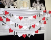 Paper Heart garland, valentines day garland, Queen of hearts birthday decorations, black white red wedding decor
