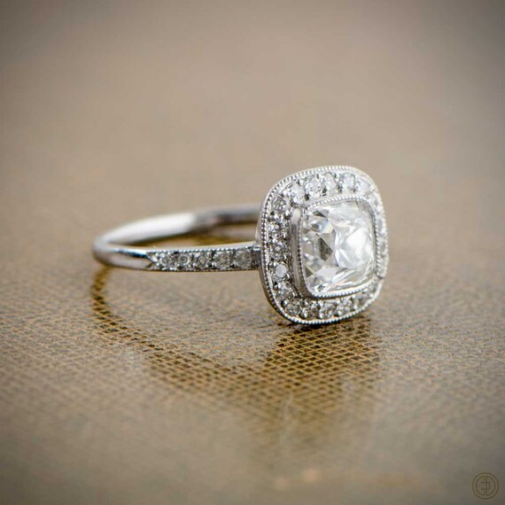 Antique Old Mine Cushion Cut Diamond Engagement Ring Estate