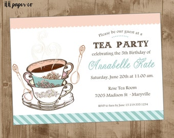 Printable Vintage Tea cup Invitation - tea party invite - pink - aqua