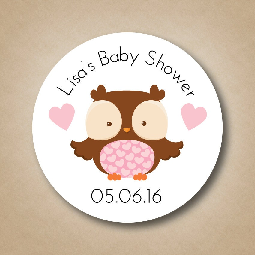 Baby Shower Stickers For Favors: Owl Baby Shower Favor Stickers Personalized Baby Shower Favor