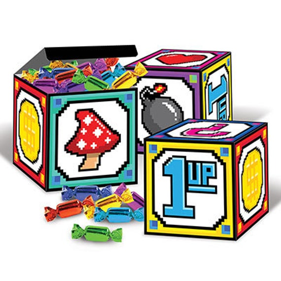 8 bit print favor boxes party supplies decorations birthday for 8 bit decoration