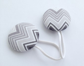 Gray Chevron Elastics, Fabric Button Sleeve Scrunchies/ Flip Flop Toppers/ Ponytail/ Tap Shoe Ties-No Metal Elastics