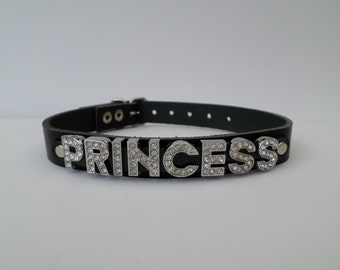 real leather princess collar with 12mm diamont letters