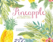 Pineapple Watercolor clipart, Florals PNG, hawaiian wedding bouquet, arrangement, digital paper, flowers, bridal shower, for blog banner