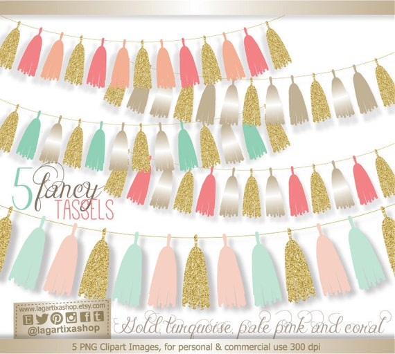 Gold Pale Pink Mint Turquoise Coral Glitter Tassel