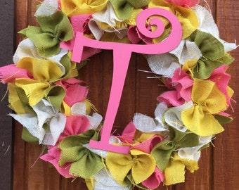 Large Spring Initial Wreath