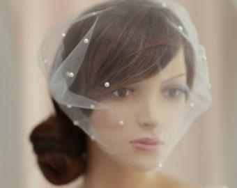 pearl beads birdcage veil,Bridal bandeau pearl veil, tulle mini veil ,Pearl beads  tulle bandeau veil , blusher veil---v619