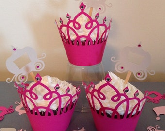 Princess Birthday Party Cupcake Wrappers and Toppers