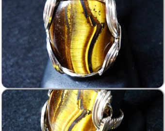 Tigers Eye Wire Wrapped Ring, Wire Ring, Wire Wrap Ring,  Wire Wrapped Jewelry